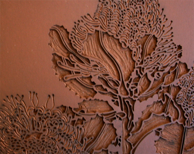 Banksia Coccinea Linocut Carving And Re Carving Art