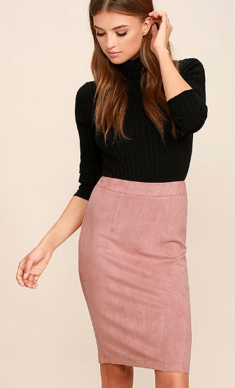 Blush Suede Pencil Skirt - $34.00