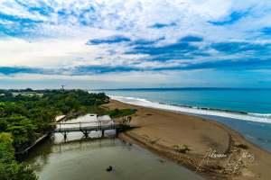 Bridge over estuary, Bali, Indonesia, reflection, drone, aerial