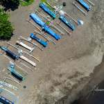fishing boats on the beach, bali, Indonesia, drone, aerial