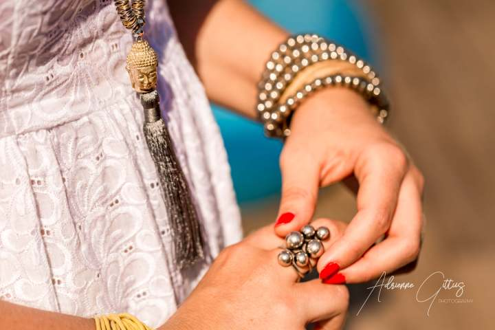 Close up of fashion jewellery on woman's hands