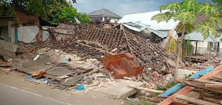 House collapsed in rubble from earthquake in Lombok, Indonesia
