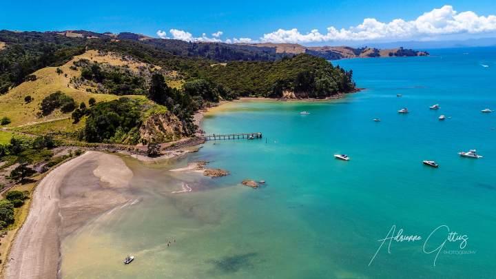 Man 'O War Bay, Waiheke Island, New Zealand, drone, aerial, landscape, view, jetty