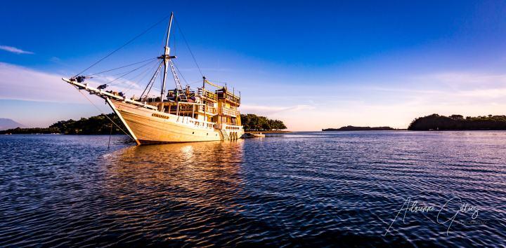Mikumba II, Indonesia, golden hour, beautiful boat, islands