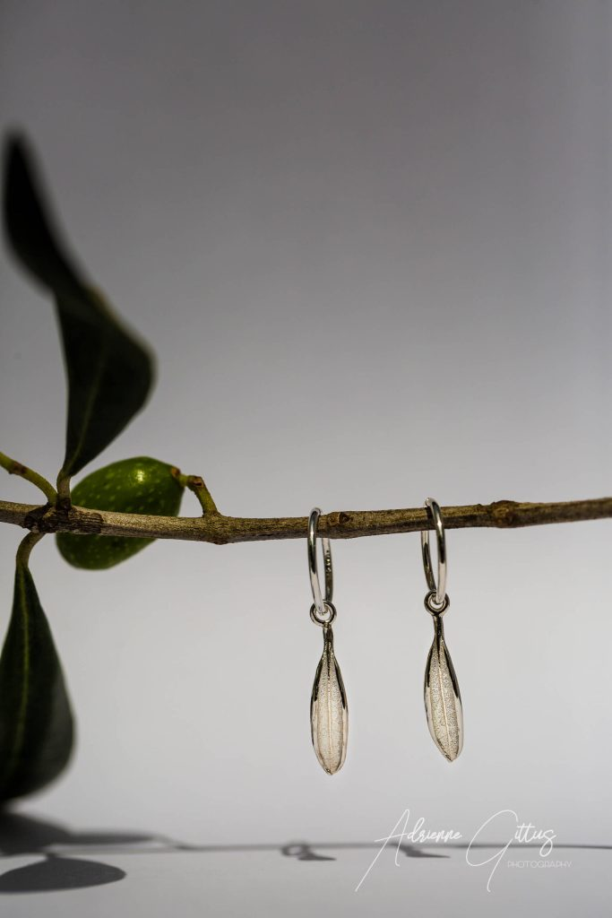 Picual olive leaf silver ring earrings, jewellery