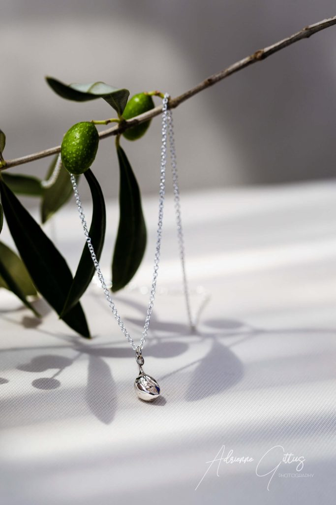 Picual olive silver necklace, jewellery
