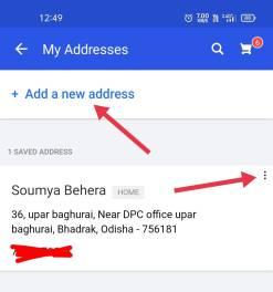 change billing address in Flipkart