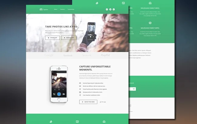 Capture – Free Responsive Bootstrap App Landing Page Theme
