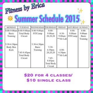 Erica's summer schedule