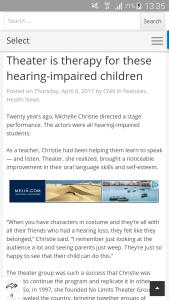 Theatre builds speaking ability in deaf children.