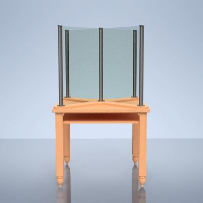 """clear glass desk shield """"X"""" on table"""