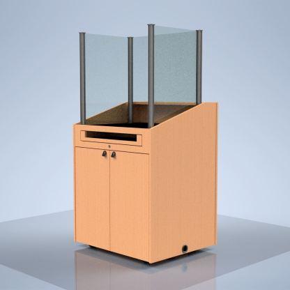 plexiglass barrier on podium