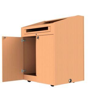 euro-hinged doors on a podium
