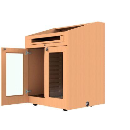 acrylic insert doors on podium