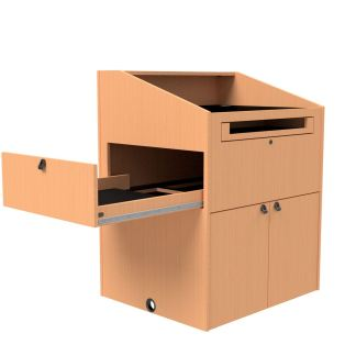 document camera drawer on the left side of podium