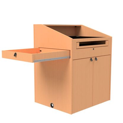 pull out storage drawer on left side of podium