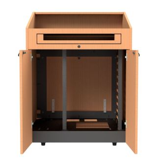 partitions with front rack rails in podium
