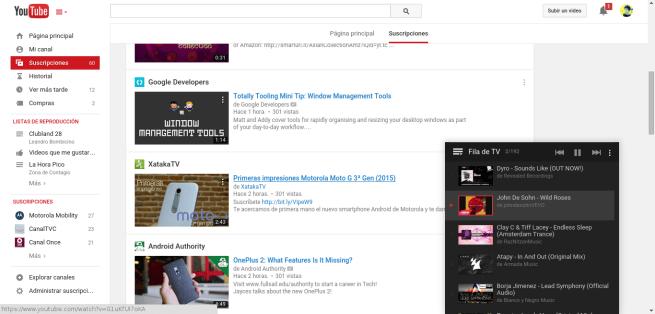 Navegando dentro de Youtube para agregar vídeos ala lista de TV.