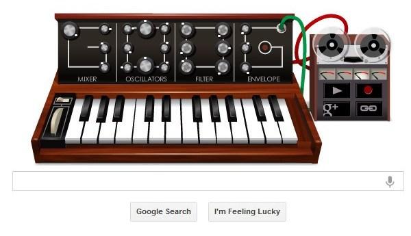 Google doodle on Robert Moog's 78th birthday