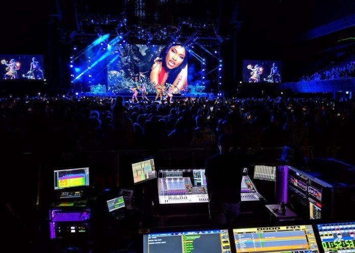 Kevin Brown manning Nicki Minaj's FOH mix for her Euro/UK Nicki WRLD tour with Juice WRLD on the DiGiCo SD5