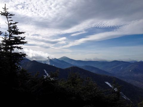 View from summit of Lower Wolf Jaw, Adirondack Park looking toward Upper Wolf Jaw and Mt. Marcy