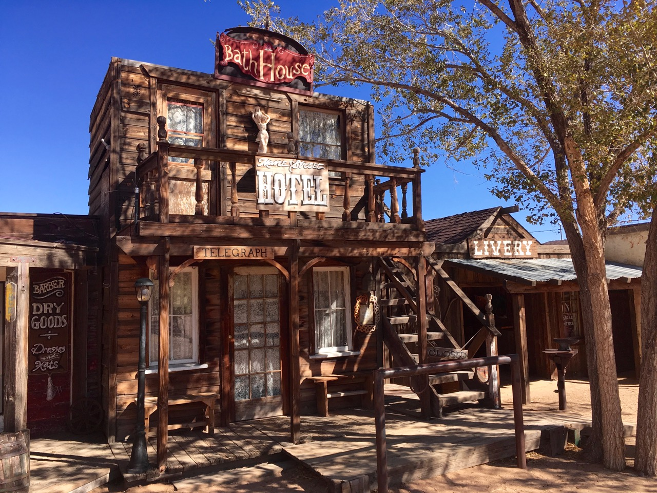 Old time western fake movie set bath house in Pioneertown
