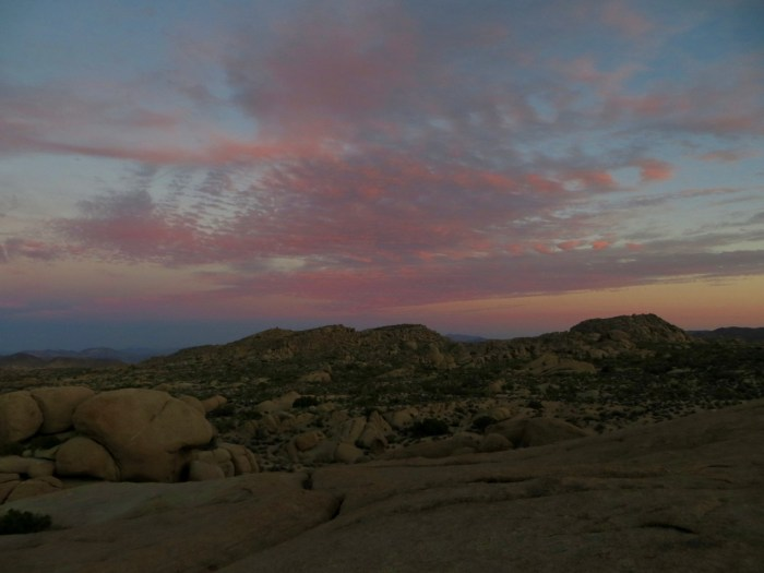 Pink clouds to the east of Jumbo Rocks at sunset, Joshua Tree