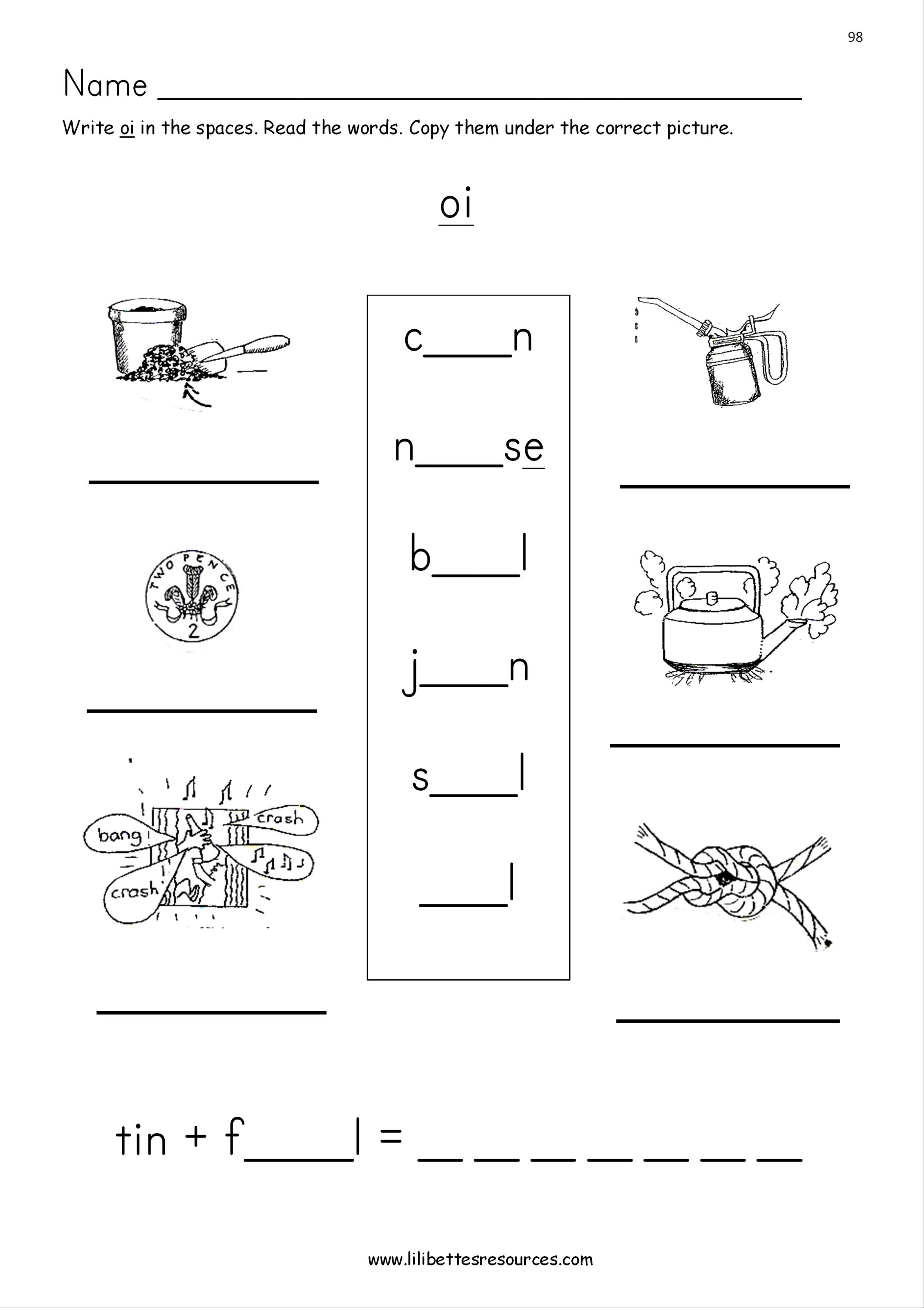 Oi Phonics Worksheets