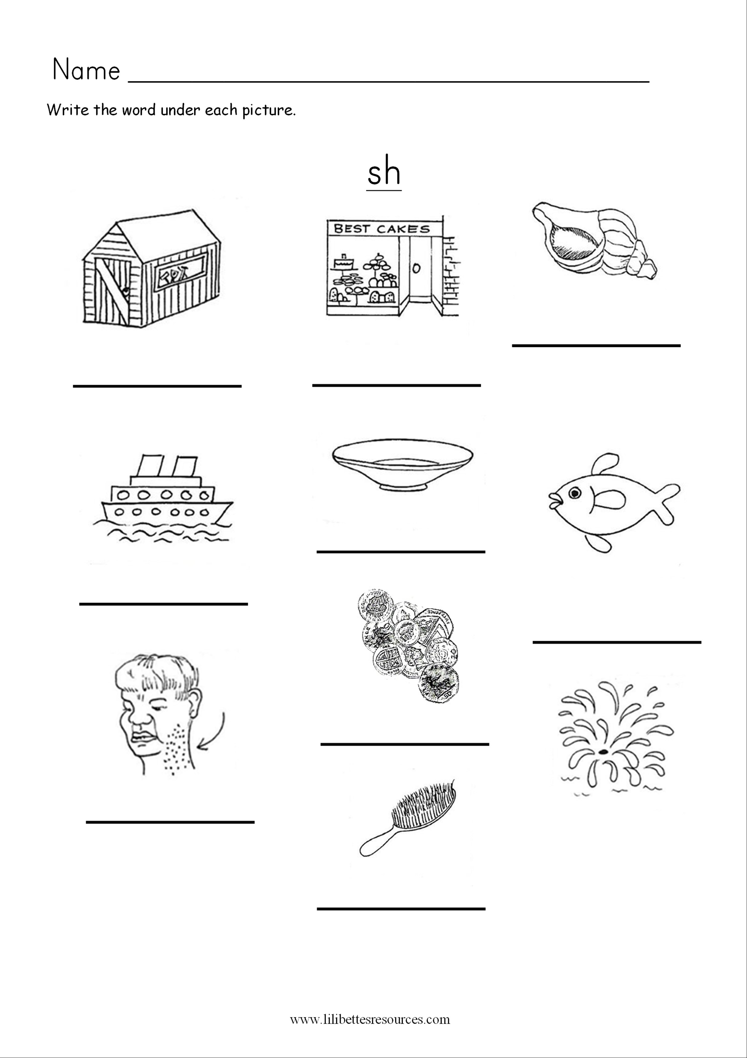 Sh Phonics Worksheets