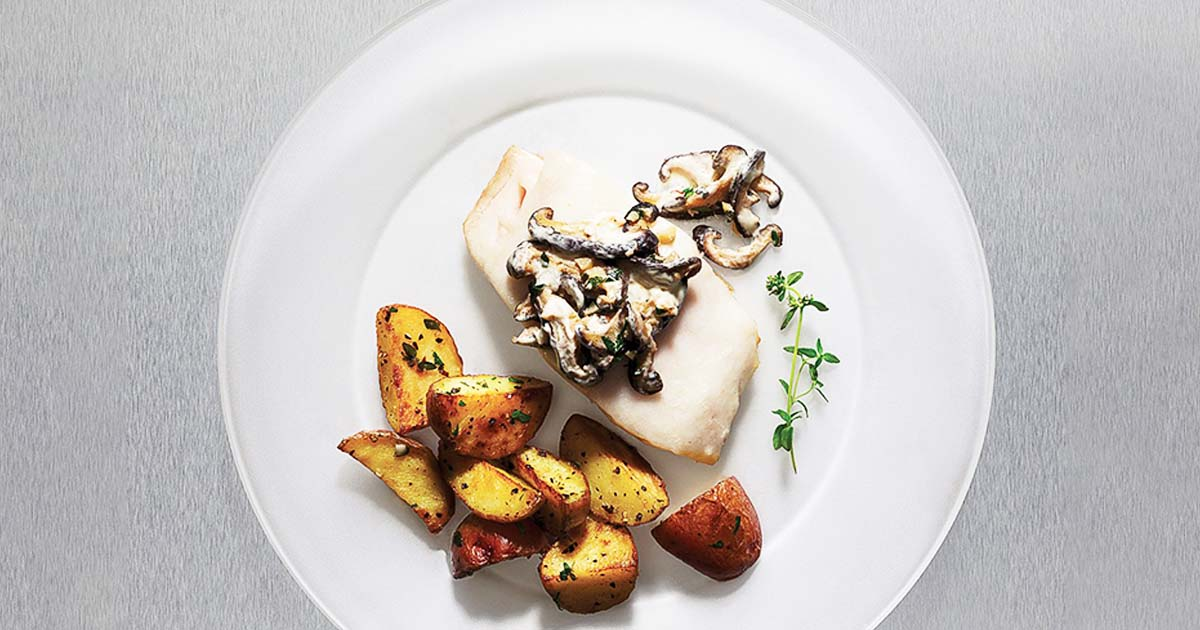 Pan-roasted Sablefish with Mushrooms and Sour Cream