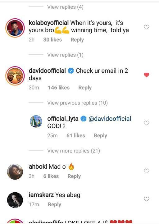 Davido Shows Love To Lyta, Asks Him For A Feature On