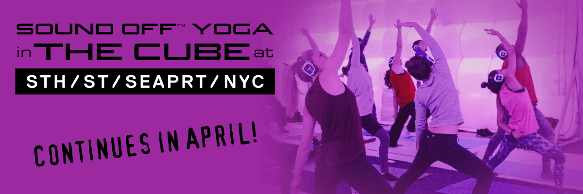 Sound Off Yoga in The Cube at South Street Seaport