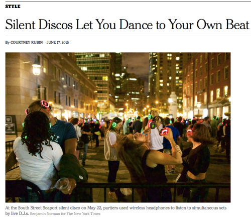 New York Times features Sound Off's Silent Disco at Seaport