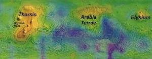 Harta concentratiilor de metan in primul an martian de observatii