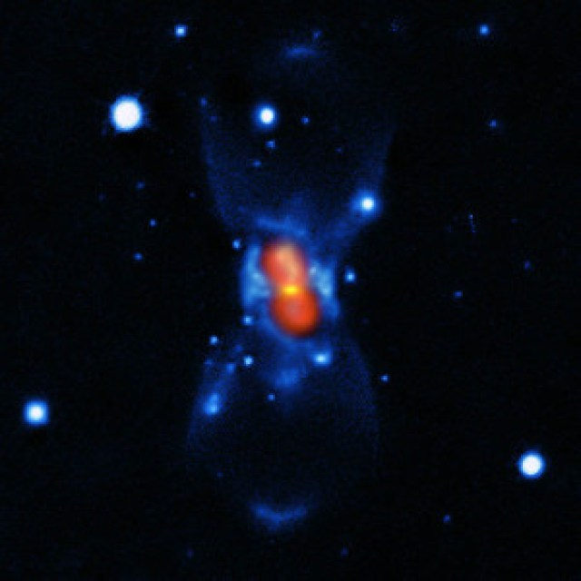 This picture shows the remains of the new star that was seen in the year 1670. It was created from a combination of visible-light images from the Gemini telescope (blue), a submillimetre map showing the dust from the SMA (green) and finally a map of the molecular emission from APEX and the SMA (red). The star that European astronomers saw in 1670 was not a nova, but a much rarer, violent breed of stellar collision. It was spectacular enough to be easily seen with the naked eye during its first outburst, but the traces it left were so faint that very careful analysis using submillimetre telescopes was needed before the mystery could finally be unravelled more than 340 years later.