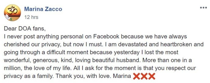Facebook announcement of Steve Coy's death