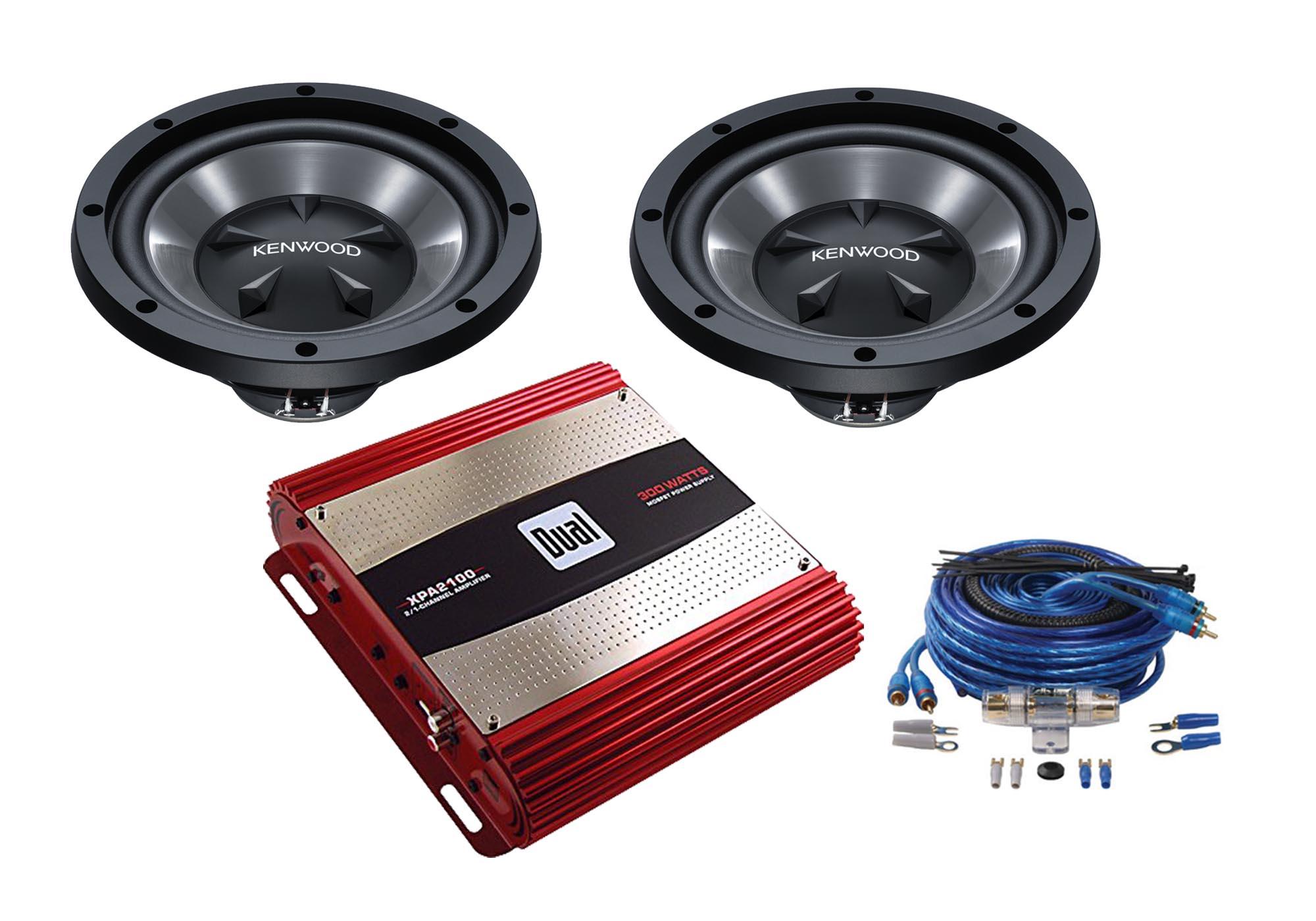 """Kenwood Two KFCW112s 12"""" Subwoofers W/ Amplifier XPA2100"""
