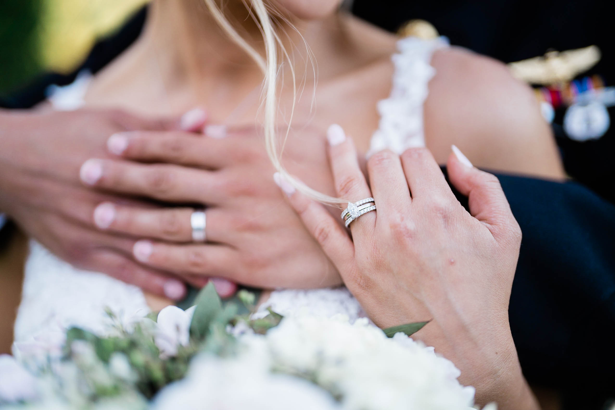 romantic photo of bride and groom at craven farm wedding