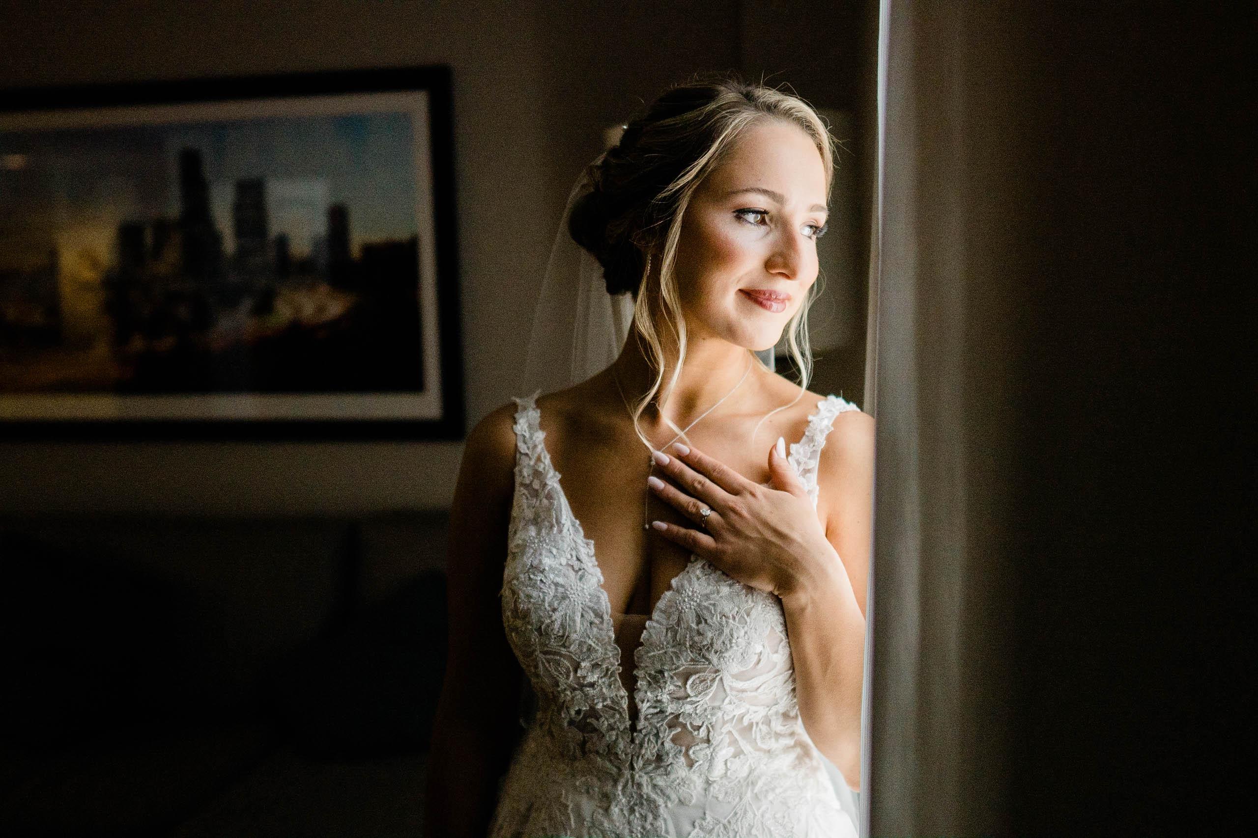 bridal portrait by window at craven farm