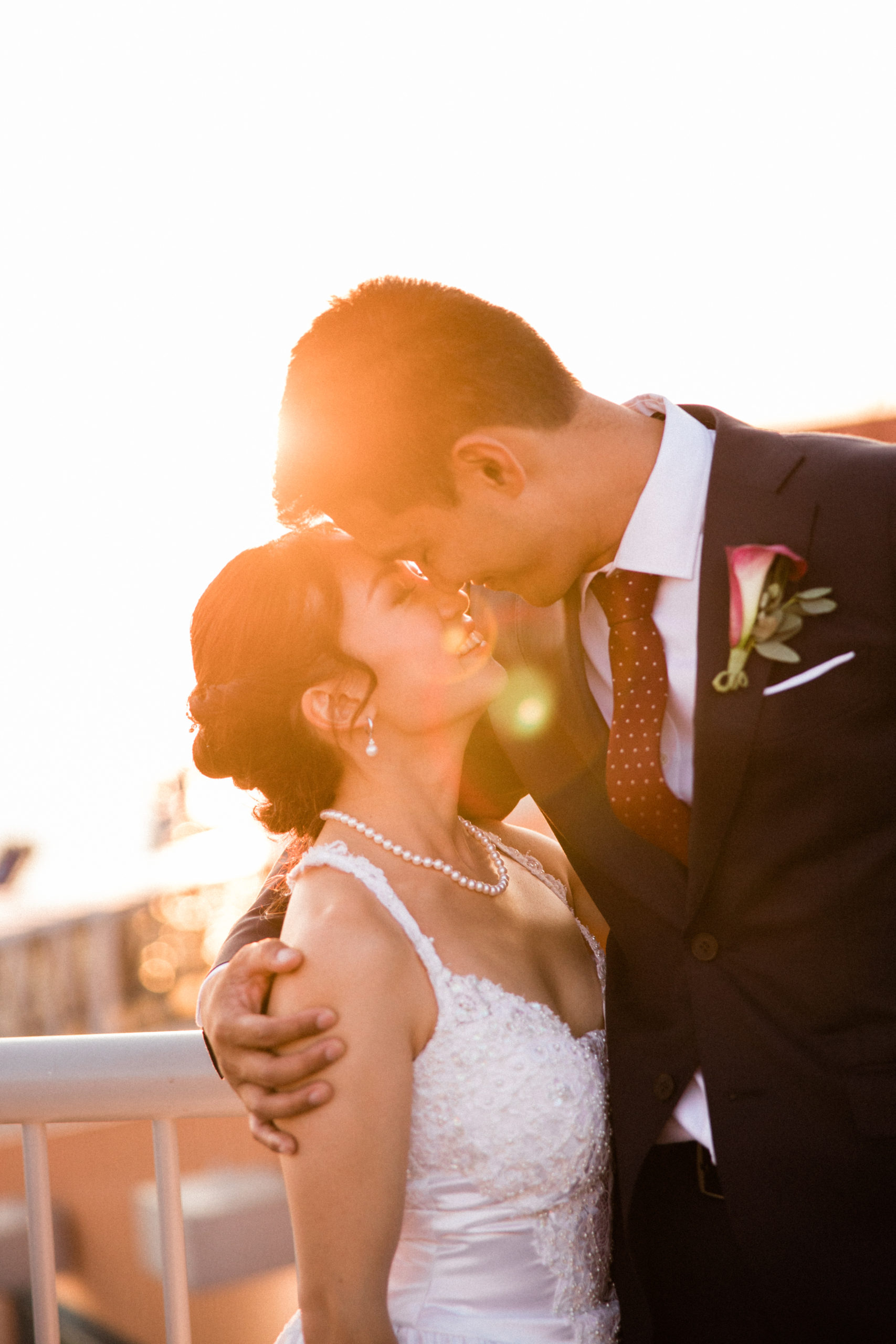fine art wedding photo of bride and groom on seattle waterfront