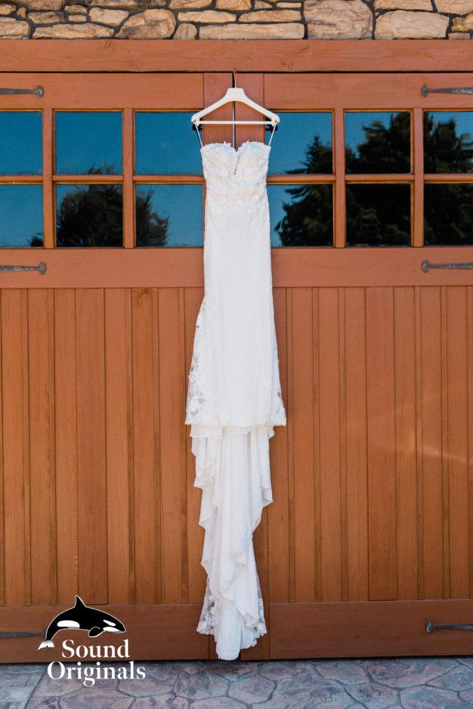 bride dress hangs at mountain view manor