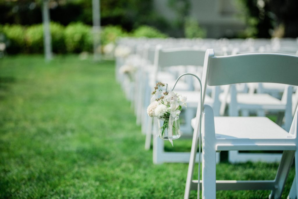 Roche Harbor Resort wedding photo shows white dress