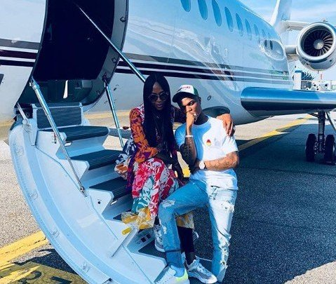 WHERE IS AUNTY TIWA? Wizkid And Naomi Campbell Jet Out To Milan For A Show (Photos)