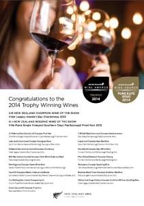 Air NZ Wine Awards Winners 2014