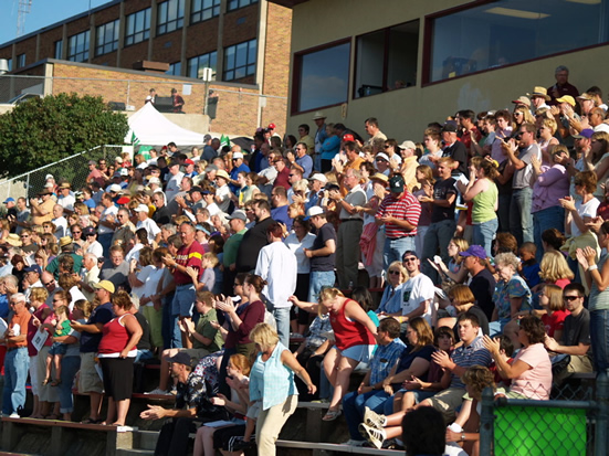 The crowd in the stands at Sounds of Minnesota in South Saint Paul, Ettinger Field.