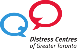 Logo Distress Centre of Greater Toronto with two speech bubbles.