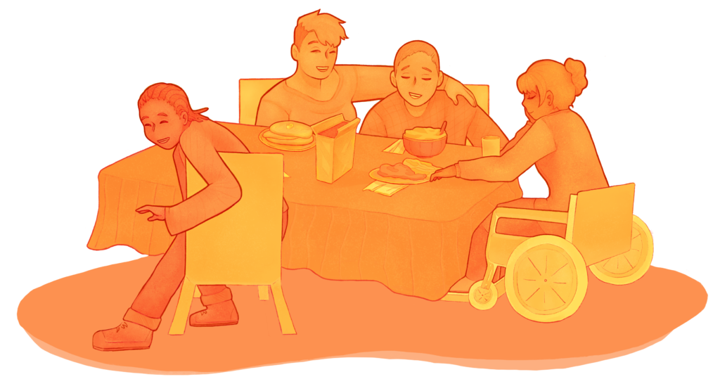 Sound Times is Different. Join a diverse table of members eating, drawing.