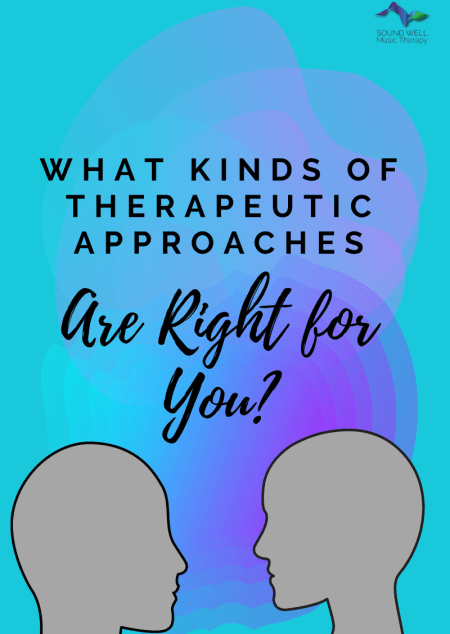 """Image shows the outlines of two abstract faces in profile with the caption, """"What kinds of therapeutic approaches are right for you?"""""""