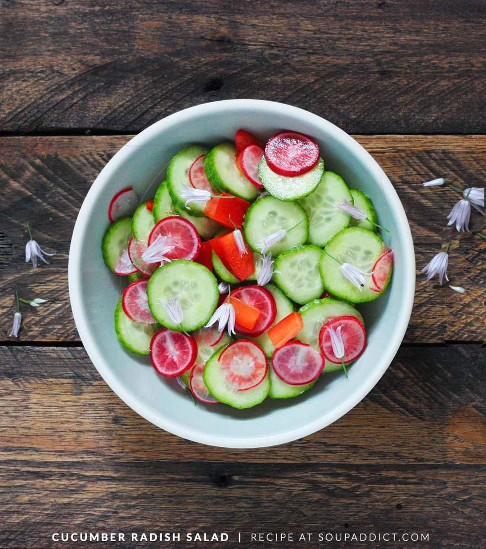 Cucumber Radish Salad with Chive Flowers - Recipe at SoupAddict.com