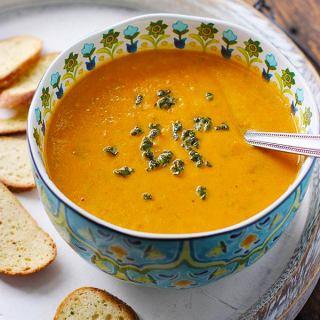 Sweet Potato Chorizo Boursin Soup   SoupAddict.com